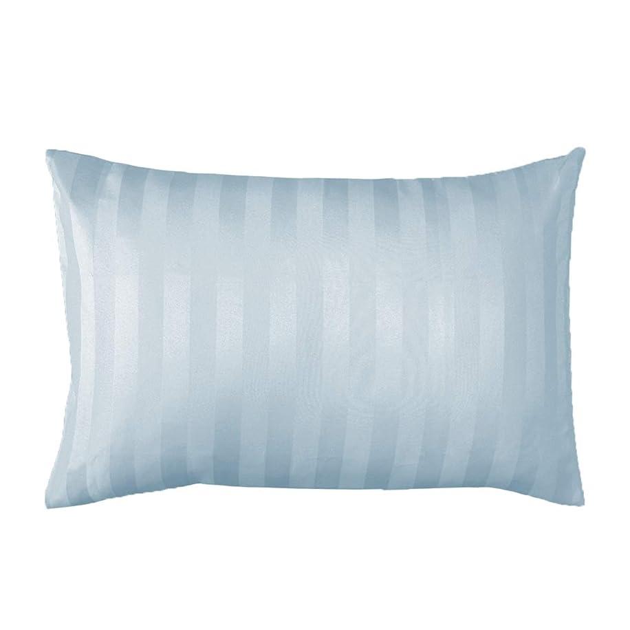 舞い上がるうるさい電極ゆるりら 枕カバー 50×70cm サテンストライプ ホテル仕様 おしゃれ 洗える ピローケース ブルー 23451-0003