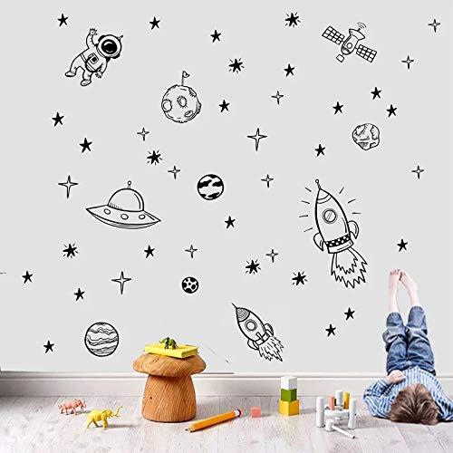Pegatinas de pared de vinilo de astronauta creativo para niños, sala de juegos, dormitorio, sala de juegos