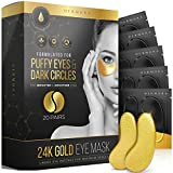 24K Gold Under Eye Mask for Dark Circles and Puffiness -20 Pairs- Look Less Tired, Reduce Dark Circles, Undereye Wrinkles & Fine Lines, Revitalize, Refresh Your Skin- Paraben Free, Cruelty Free, Vegan