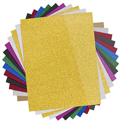 "Glitter Heat Transfer Vinyl HTV - 13 Pack 12""x10"" Iron On Vinyl for Cricut & Silhouette Cameo (Teflon Sheet Included), 9 Assorted Colors HTV Glitter Bundle of Heat Press Vinyl, Easy to Cut & Press"