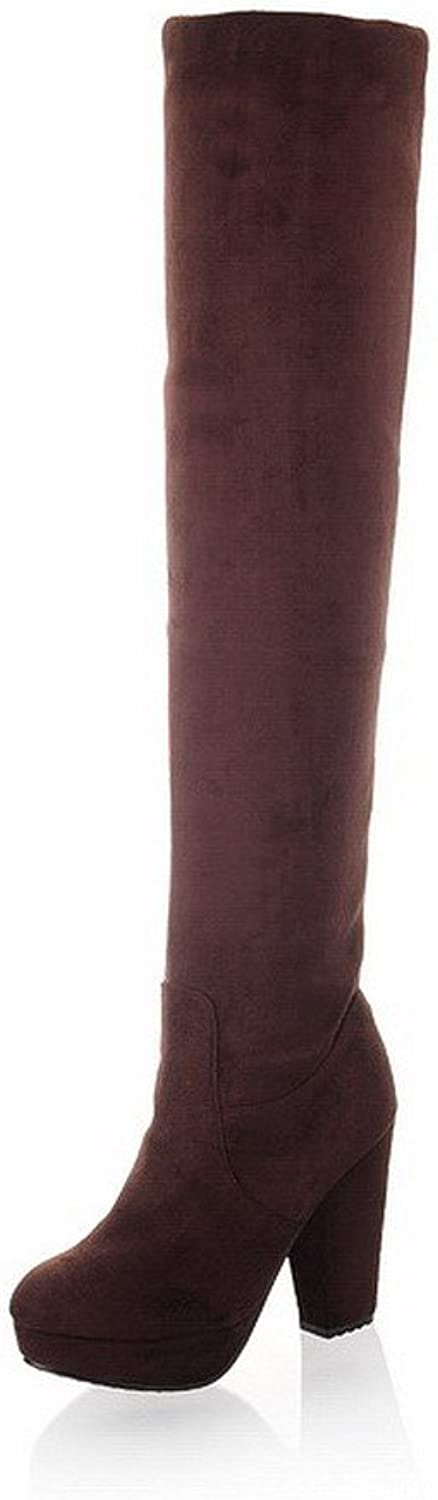 QueenFashion Women's Import Frosting Suede Velvet Lining High Chunky Heels Solid Thigh-High Boots