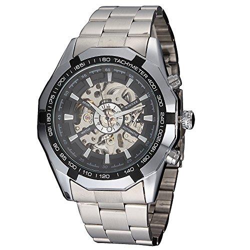 Winner - Reloj mecánico automático de Hombre, diseño clásico, Acero Inoxidable