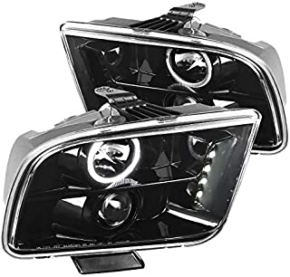 For Ford Mustang LED Halo Jet Black Projector Headlights Headlamps Left+Right