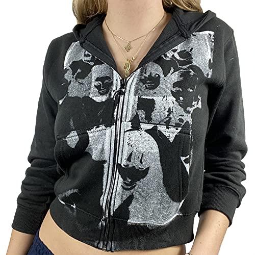 Alaurbeauty Y2K - Sudadera con capucha y cremallera para mujer, diseño vintage A-negro. M