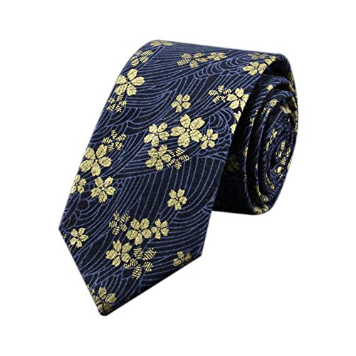 JUNGEN Corbata de Hombre con Estampado de Flores de Tinta Corbata Estrecha Corbata de algodón y Lino Corbata de Boda para Mejor Hombre Novio Size 148 * 7cm (Azul Oscuro)