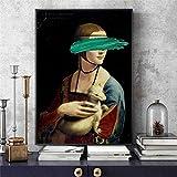 wojinbao Resumen de Lienzo de Arte de Pared Da Vinci-The Lady with An Ermine Canvas Art ngs Cover...