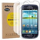 pinlu [4 Pack Protector de Pantalla de Cristal para Samsung Galaxy S3 Mini Protector Cristal Vidrio Templado [9H/2.5D/0.26mm, 99% TransPrincipale]