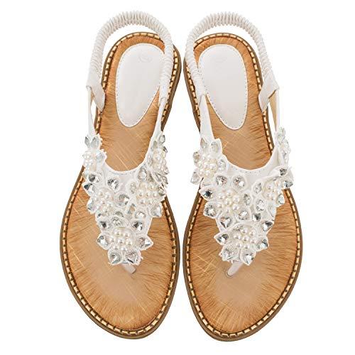 Ruiatoo Comfort Sandals for Women Bohemia T-Strap Ladies Summer Flats Sandals Rhinestone Flower Flip Flops White 39
