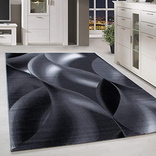HomebyHome Kurzflor Teppich Schattenmuster Wohnzimmerteppich Hellgrau Schwarz Meliert, Grösse:200x290 cm