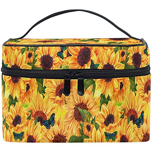 Vintage Sunny Sunflower Butterfly Beautiful Flower Pattern Makeup Carrying Portable Cosmetic Brush Bag Storage