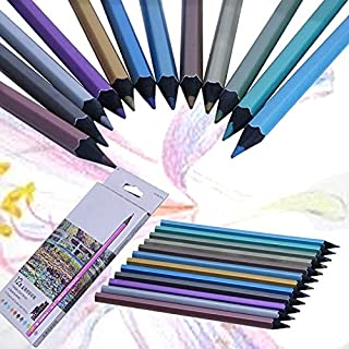 Colored Pencils - 12 Metallic Colored Pencil Non-toxic For Drawing Sketching Set Stationery
