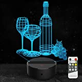 3D Night Light Wine Cup Bottle Led Light Optical Illusion Lamp 7 Color Changing with Remote Birthday Christmas Gifts for Kids Girls Adults Home Wine Bar Decoration