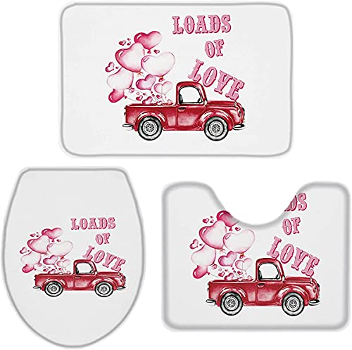 3 Pieces Bathroom Rugs and Mats Sets, Non Slip Water Absorbent Bath Rug, Toilet Seat/Lid Cover, U-Shaped Toilet Mat, Home Decor Doormats - Valentine Pink Balloons and Vintage Truck White Back