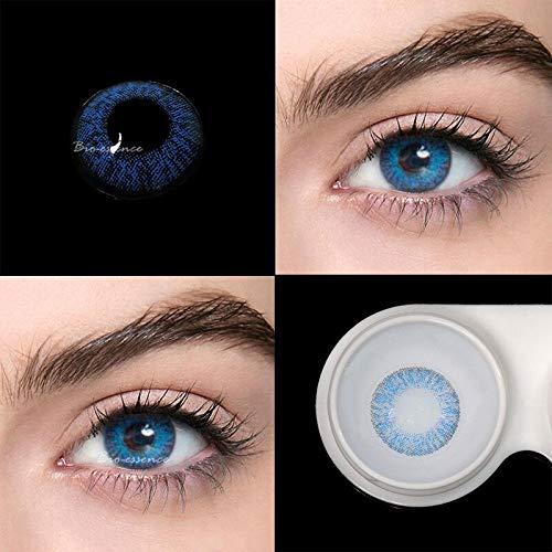 BIO-ESSENCE Pack Lentillas de Hidrogel blandas 1 par Lentes de contacto color azul sin graduación. Duración: 12 meses. Incluye de regalo 1 estuche y 10ml de solución (AZUL BRILLANTE)
