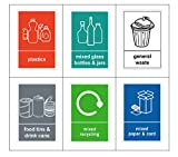 Mixed Pack of 6 Multi Recycling Bin Sticker-Self Adhesive with Waterproof Bin Labels/Food/Plastics/Mixed Paper & Card/Mixed Glass/General Waste 6 decals (A6-100 x 150 mm) Sara Prints