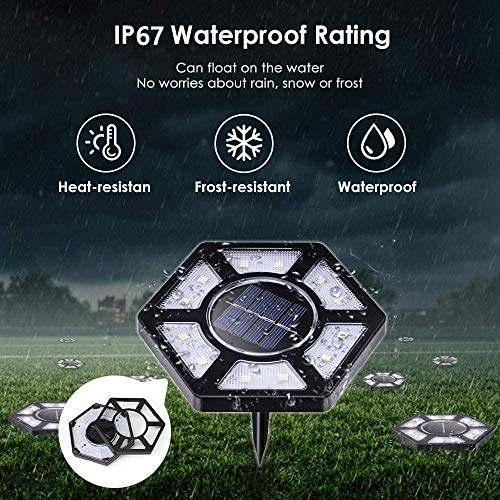 Rodicoco Solar Ground Lights 4 Pack, 12 LED Beads Solar Lights Outdoor, lamp Waterproof LED Solar Garden Lights Garden Lighting for Lawn,Pathway,Yard,Driveway,Step and Walkway