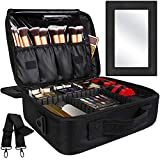 Kootek 2-Layers Travel Makeup Bag, Portable Train Cosmetic Case Organizer with...