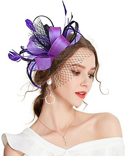 Z&X - Broche para mujer, diseño de flores y plumas, con clip para el pelo, para cócteles, bodas - Morado - Talla única