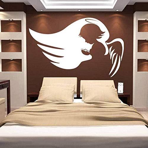 Pegatinas de pared de PVC pegatinas de pared del cielo alas de ángel lindo bebé kindergarten tatuajes de pared decoración del hogar dormitorio patrón de encogimiento troquelado extraíble 58X76CM