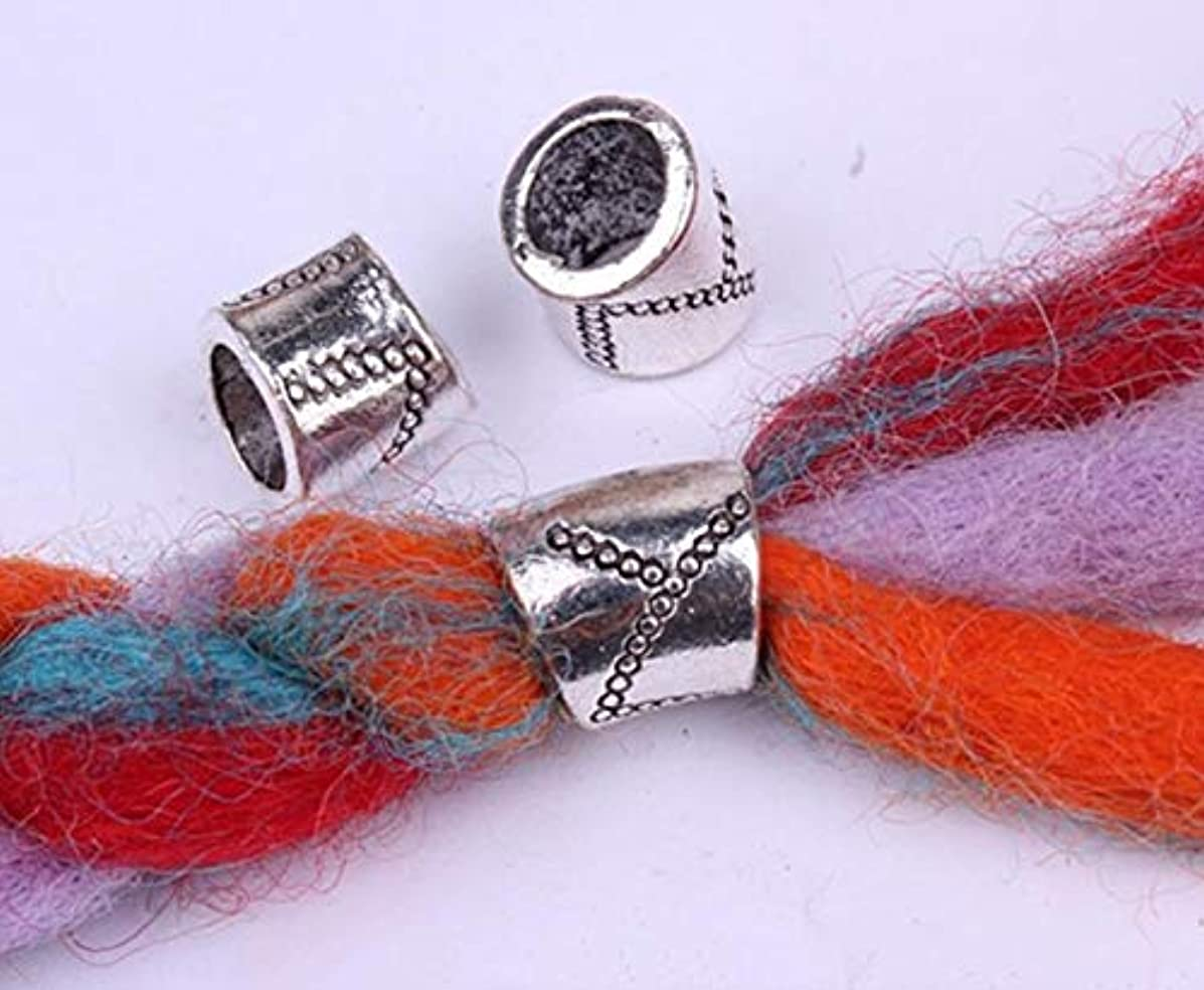 40PCs Tibetan Carved Silver Metal Beads Set - Dreadlock Beads dread skull beads 7mm hole