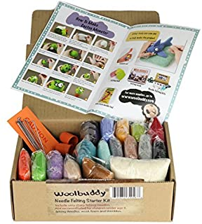 Needle Felting Starter Kit by Woolbuddy ? 16 Wool Colors Felting Foam Mat 6 Needles 3 Thimbles & Instruction Manuel ? Great for Arts & Crafts Decorations Ornaments & Easy for Beginners