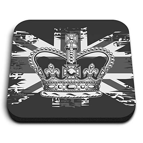 Destination Vinyl ltd Impresionantes imanes cuadrados de MDF – BW – Bandera británica de la monarquía de la corona británica para oficina, armario y pizarra blanca, pegatinas magnéticas 42314