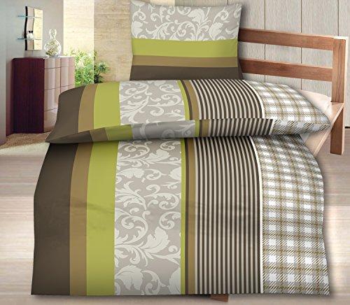 4-Teilig Microfaser Flausch/Fleece Bettwäsche grün/braun GRATIS 1x SCHAL GRATIS 2x 135x200 Bettbezug + 2x 80x80 Kissenbezug , weich und kuschelig