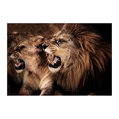 EBONP Wall Decorative paintings canvas print Poster Canvas Painting Modern Animal Black and White Kissing Lions Head Wall Art Pictures for Living Room Picture Home Decor-24x32inch