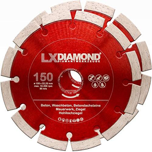 LXDIAMOND 2x Diamant-Trennscheibe 150mm x 22,23mm Beton Stein Ziegel Mauerwerk passend für Diamantfräse Schlitzfräse Mauernutfräse Mauerschlitzfräse Wandfräse Diamantscheibe 150 mm - in Profi Qualität