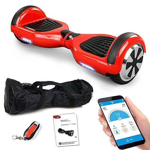 Smartway Balance Scooter 6, 5 Zoll 600W-Motion V.5 mit App Funktion, Bluetooth Lautsprecher, Kinder Sicherheitsmodus, Elektro Self Board Balance E-Scooter, 600 Watt Hover Wheel (rot)
