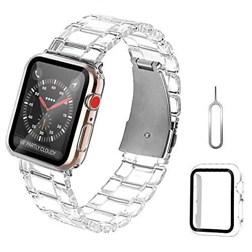 ZXK CO Compatible con Apple Watch, pulsera de acero inoxidable de 42 mm con cristal blindado, transparente, resistente a los golpes, pulsera de repuesto con carcasa para iWatch Series 1/2/3