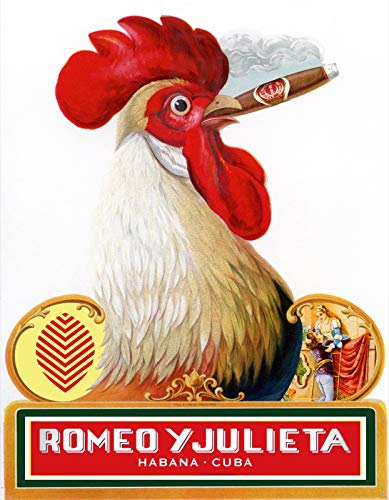 18'x24' Decorative Poster Reproduction on Canvas of Vintage Cigar Label Romeo y Julieta.Cock.Rooster.12313