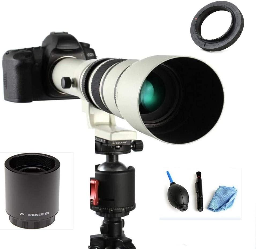 JINTU 500mm-1000mm F/8 Lente de zoom manual telefoto para Nikon DSLR Cámara digital Metal D5600 D5500 D5400 D5300 D5200 D5100 D3000 D3100 D3200 D3300 D3400 D7100 D7200 D7500 D750 D850 D800 D90 Negro