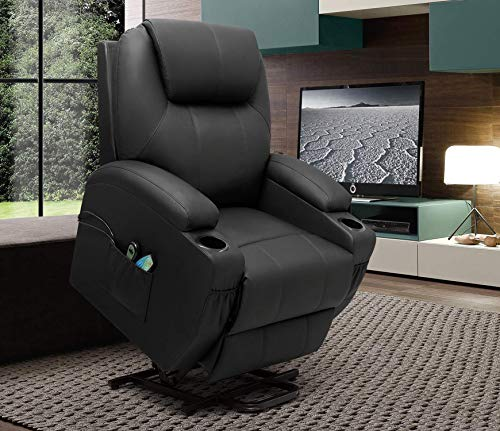 VICTONE Electric Power Lift Recliner Chair PU Leather Sofa Chair for Elderly with Massage and Heat, Side Pockets and Cup Holders (Black)