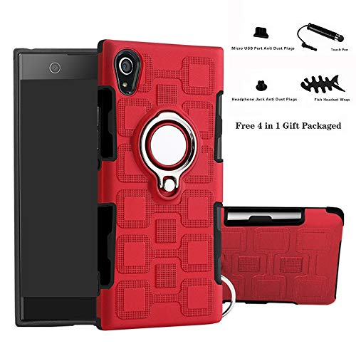 Labanema Xperia XA1 Funda, 360 Rotating Ring Grip Stand Holder Capa TPU + PC Shockproof Anti-rasguños teléfono Caso protección Cáscara Cover para Sony Xperia XA1 - Rojo