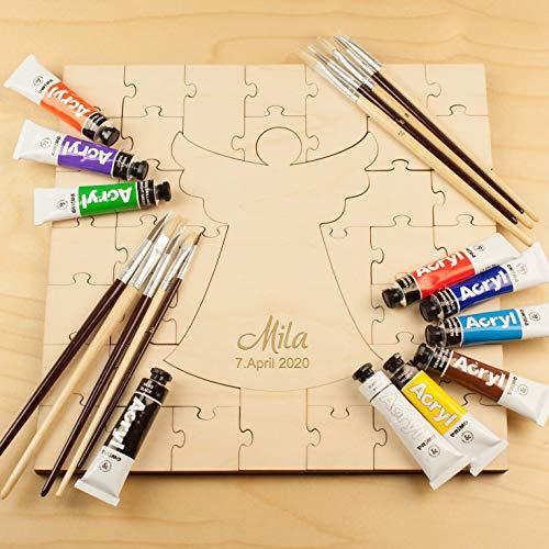 Geschenke 24 Holzmosaik zur Taufe mit Gravur (Mit Personalisierung) - Holzpuzzle mit Name und Datum personalisiert - Taufgeschenk für Mädchen und Jungen