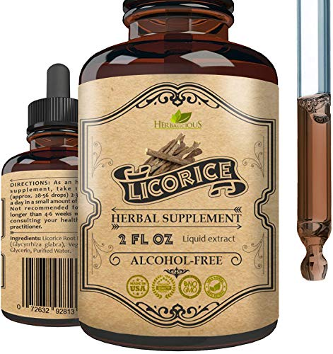 Licorice Root Extract - Pure Organic Glycyrrhiza Glabra Extract Supplement for Digestion Restore Respiratory Health Adrenal Fatigue & Immunity Support Vegetarian Gluten Free Liquid Tincture 2oz