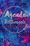 Agenda Settimanale Watercolor Universe: Weekly Planner in italiano, life organizer da borsa, 12 mesi, 54 settimane