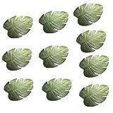 FGASAD 10 manteles individuales de hoja de palma, hojas artificiales tropicales verdes resistentes al calor, PVC para decoración de fiestas hawaianas