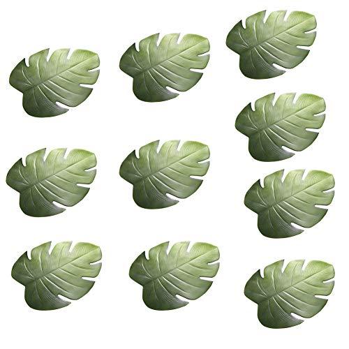 FGASAD 10 manteles individuales de hoja de palma, hojas verdes tropicales artificiales...