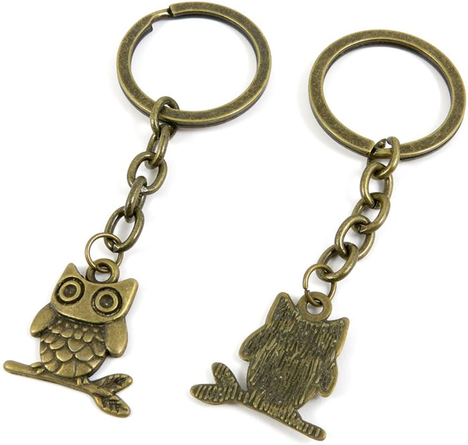 100 PCS Keyrings Keychains Key Ring Chains Tags Jewelry Findings Clasps Buckles Supplies S2NP3 Cute Owl