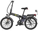 MQJ Ebikes 20'Bicicleta Eléctrica Plegable con Batería de Iones de Litio de Gran Capacidad Extraíble (48V 250W), 3 Modos de Equitación, Bicicletas Eléctricas de Doble Disco,Negro,150 Km