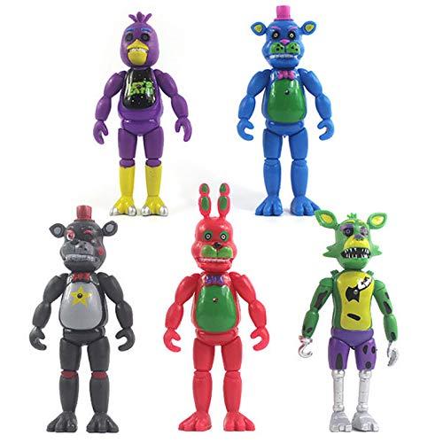 AWH Five Nights at Freddy's Spielzeugfigur 5 Stücke Actionfiguren für Kinder Superstar Lefty Freddy Bonnie Foxy Chica Spiel Figuren Modell mit Licht Sammlung Geschenk 5PCS-14cm