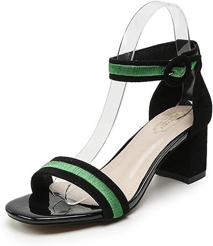 Sandales Mode Femmes Talons Hauts Carrés Sandale Bout carré Ouvert Lanières été Chaussures