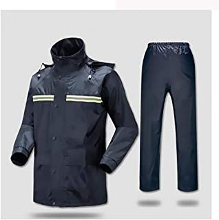 CCJW Motorcycle Rain Pants Suit Suit Double Men's Waterproof Jacket Suit Women's Split Raincoat Lightweight Breathable High (Color : Navy, Size : XXXL)