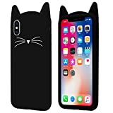 Yoedge Cover iPhone 8, Cover iPhone 7, Antiurto Protective Silicone Case Cover TPU Gel Custodia con 3D Cartoon Disegni [Gatto] per Apple iPhone 8/7 (4.7 Pollici) Smartphone (Nero)