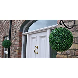 Best Artificial Pair of 28cm Green Boxwood Buxus Grass Hanging Topiary Balls:Masterpola