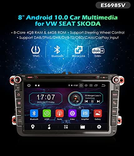 Autoradio Erisin ES6985V 8' Android 10.0 DVD er GPS DTV BT DAB per VOLKSWAGEN Bora Golf Passat T5 Multivan Seat Skoda