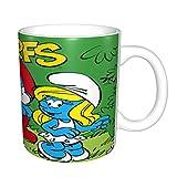 Taza de café divertida con diseño de Los Pitufos, regalo para el día del padre, regalo para hombres, papá, abuelo, novedad, motocicleta, taza de café mágica, 325 ml, color negro
