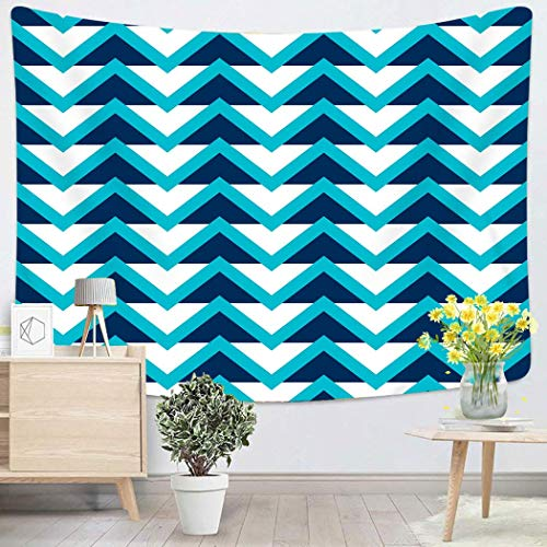 Tapestry Wall Hanging Geometric Abstract Pattern With White And Blue Arrowheads Angular Arrow Cell? Art Chakra Polyester Home Decorations For Bedroom Dorm Decor 50 X 60 Inches 60x51in(130x150cm)